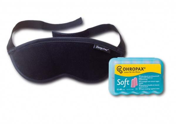Orion Deluxe Sleep Mask + Ohropax Soft Foam Earplugs
